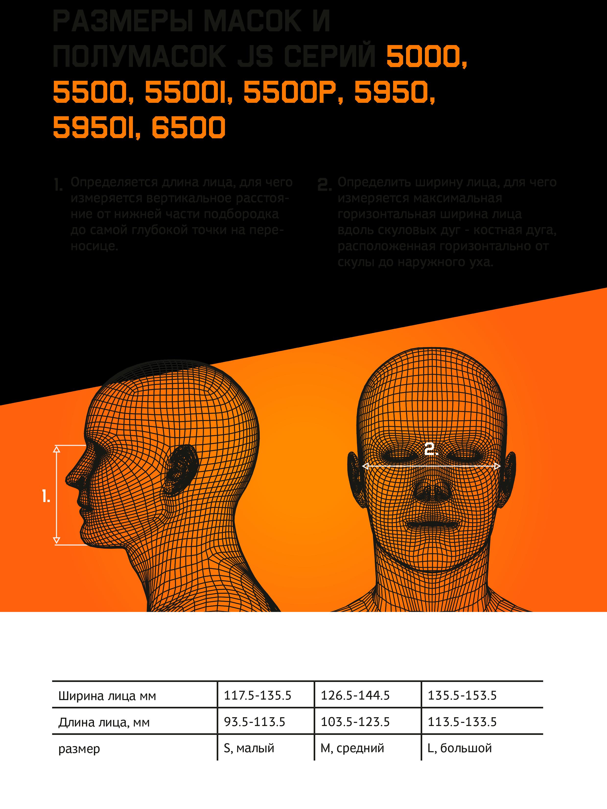 Размеры масок и полумасок JS серии 5000, 5500, 5500I, 5500P, 5950, 5950I, 6500